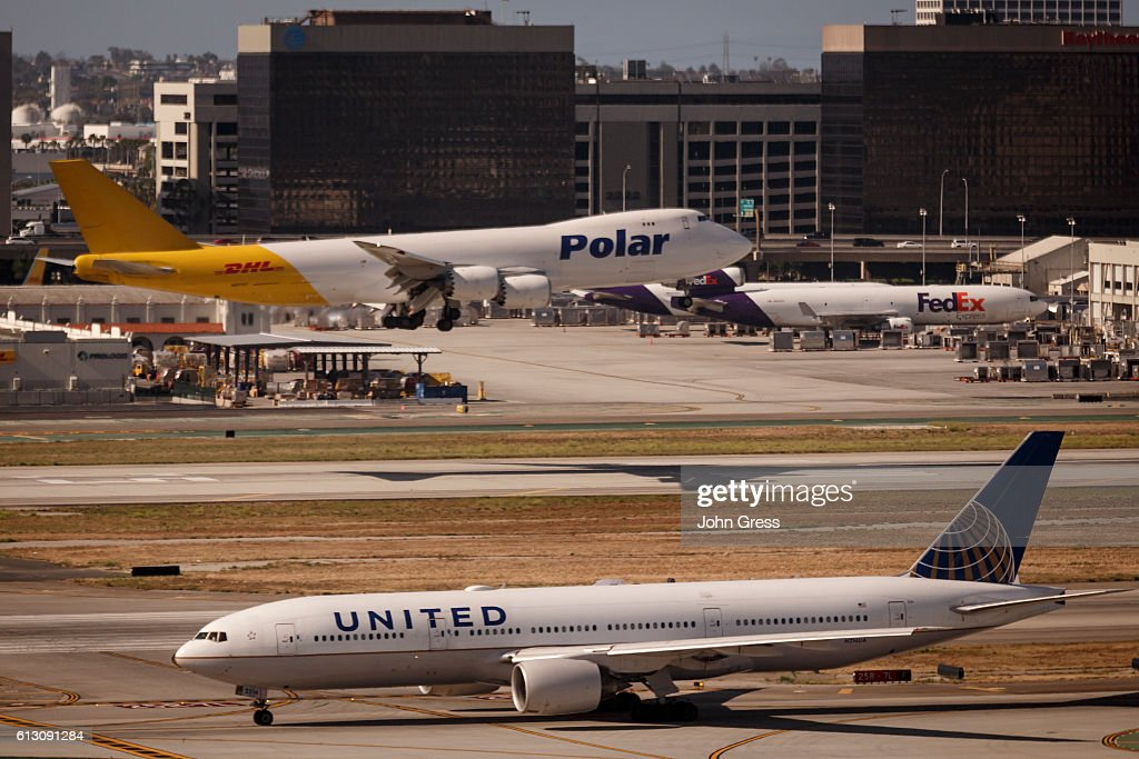 A United Airlines Boeing 777 prepares for takeoff as a Polar