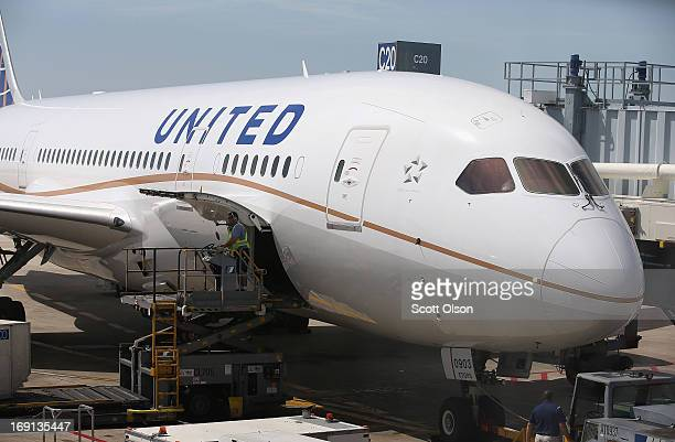 United Airlines Boeing 787 Dreamliner is prepared for a flight at O'Hare International Airport after it arrived from Houston with United CEO Jeff...