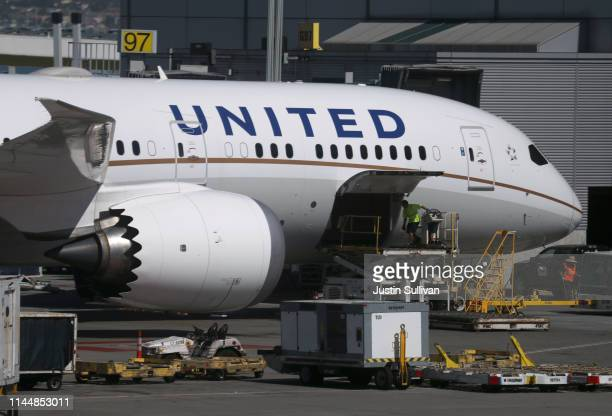 United Airlines Boeing 787 Dreamliner sits parked at the terminal at San Francisco International Airport on April 24 2019 in San Francisco California...