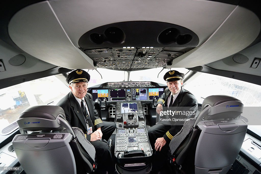 United Airlines Captain Stephen Kastner (L) and First officer Mike McCann sit in the cockpit of the new Boeing 787 Dreamliner at Los Angeles International Airport on November 30, 2012 in Los Angeles, California. In January the new jet is scheduled to begin flying daily non-stop between Los Angeles International airport and Japan's Narita International Airport and later to Shanghai staring in March. The new Boeing 787 Dreamliner will accommodate 219 travelers with 36 seats in United Business First, 70 seats in Economy Plus and 113 in Economy Class. The carbon-fiber composite material that makes up more than 50 percent of the 787 makes the plane more fuel-efficient.
