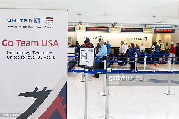 United Airlines celebrates Team USA as over 85 US athletes get ready to board their flight at George Bush Intercontinental Airport in Houston Texas...
