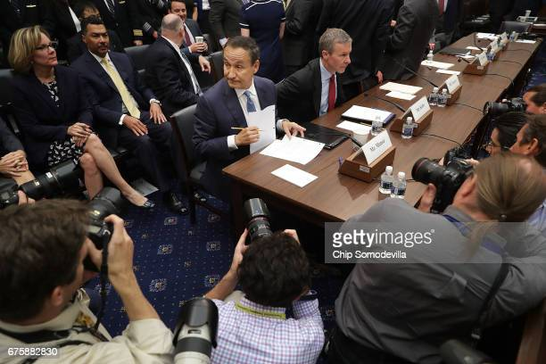 United Airlines CEO Oscar Munoz and United Airlines President Scott Kirby prepare to testify before the House Transportation and Infrastructure...
