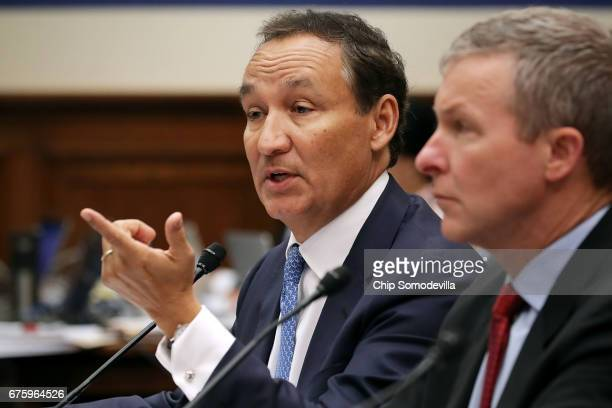United Airlines CEO Oscar Munoz and United Airlines President Scott Kirby testify before the House Transportation and Infrastructure Committee about...