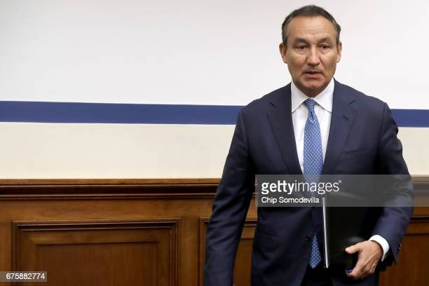 United Airlines CEO Oscar Munoz arrives to testify before the House Transportation and Infrastructure Committee about oversight of US airline...