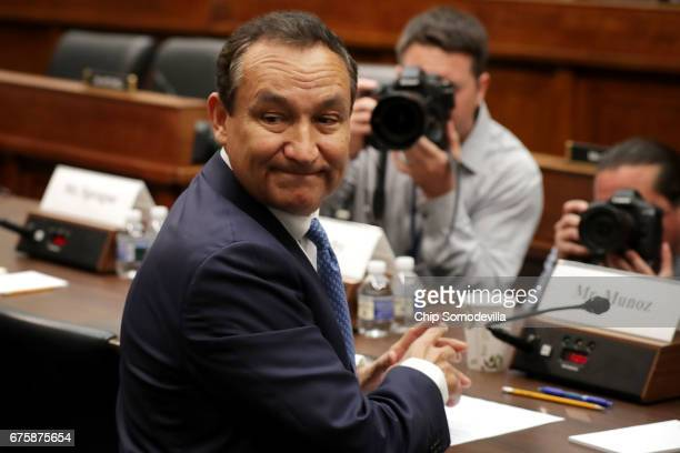 United Airlines CEO Oscar Munoz prepares to testify before the House Transportation and Infrastructure Committee about oversight of US airline...