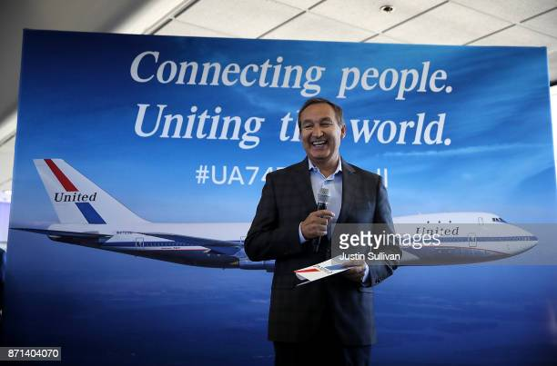 United Airlines CEO Oscar Munoz speaks to passengers before United Airlines flight 747 takes off on its final flight from San Francisco International...