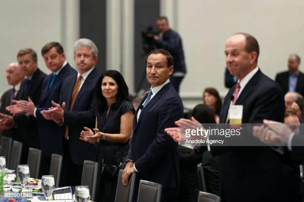 United Airlines Chief Executive Officer Oscar Munoz attends a meeting titled 'United Airlines Landing a LongTerm Strategy' organised by The...