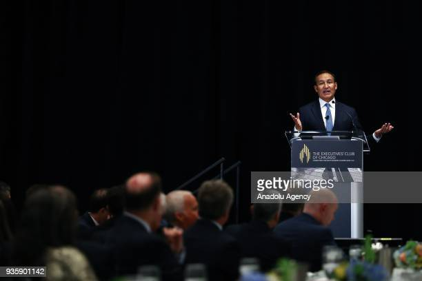 United Airlines Chief Executive Officer Oscar Munoz speaks during a meeting titled 'United Airlines Landing a LongTerm Strategy' organised by The...