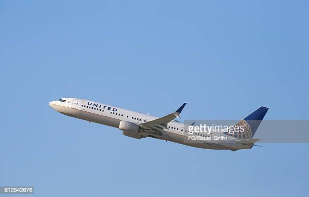 United Airlines Dreamliner 787 taking off from LAX on October 03 2016 in Los Angeles California