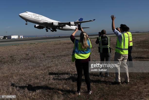 United Airlines flight 747 takes off from San Francisco International Airport as it travels to Honolulu Hawaii on its final flight on November 7 2017...