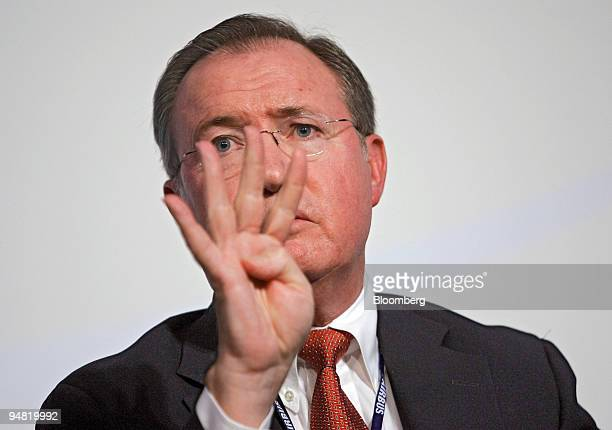 United Airlines Inc. Chief executive Glenn Tilton makes a point at a debate on the challenges facing the airline industry during the World Air...