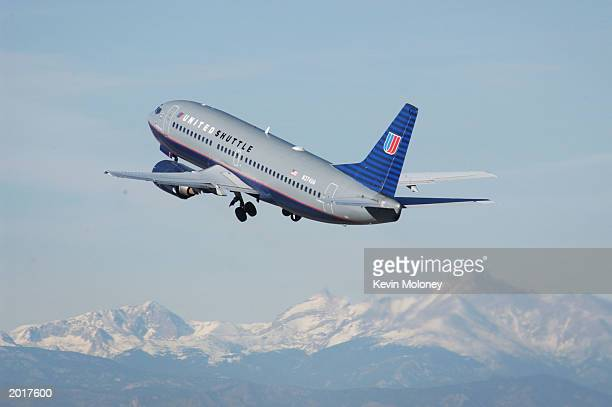 A United Airlines jet takes off from Denver International Airport December 10 2002 in Denver Colorado Bankrupt United Airlines parent UAL Corp...