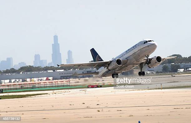 United Airlines jet takes off from O'Hare International Airport on September 19 2014 in Chicago Illinois In 2013 67 million passengers passed through...