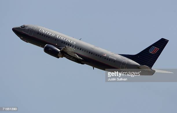 United Airlines jet takes off from San Francisco International Airport July 31 2006 in San Francisco California United Airlines parent company UAL...