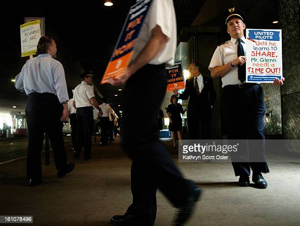 DENVER CO AUG 6 2007 United Airlines pilots flight attendants and mechanics conduct informational picketing at Denver International Airport and...