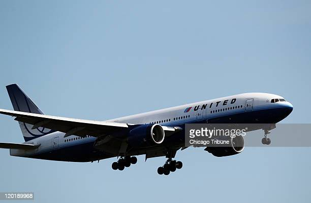A United Airlines plane comes in for a landing at O'Hare International Airport in Chicago Illinois on Friday September 17 2010 United Airlines...