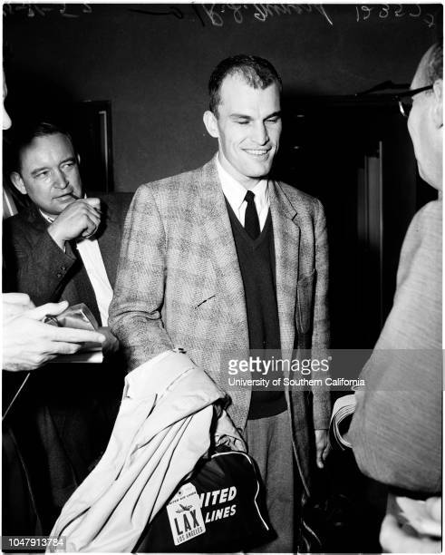 United Airlines plane crash landing at International Airport, 31 October 1957. Mickey Fine;Mrs Yolanda Trigiami -- 50 years;Carl and Mrs Ford;R.J...