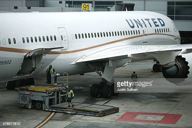 United Airlines plane sits on the tarmac at San Francisco International Airport on June 10 2015 in San Francisco California The Environmental...