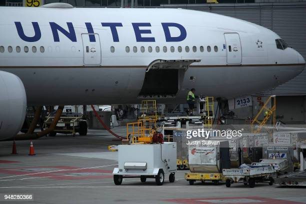 United Airlines planes sit on the tarmac at San Francisco International Airport on April 18 2018 in San Francisco California United Continental...