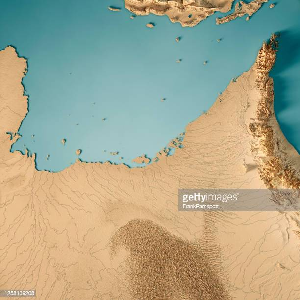 united arab emirates 3d render topographic map color - united arab emirates stock pictures, royalty-free photos & images