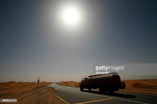 United Arab Emirates, Abu Dhabi, Desert, truck on road