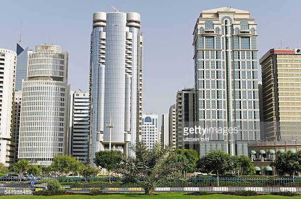 United Arab Emirates Abu Dhabi Skyscrapers at the waterfront promenade 'Corniche'