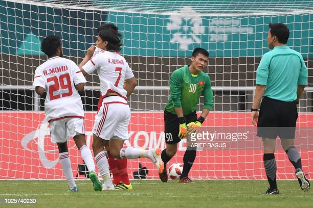 United Arab Emirates' Ahmad Alhashmi celebrates after scoring a goal againts Vietnam in the men's bronze medal football match at the 2018 Asian Games...