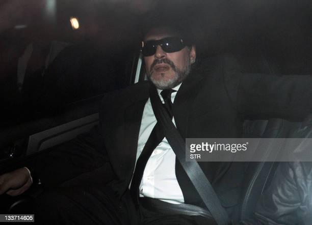 United Arab Emirates' Al Wasl FC coach Argentine former football star Diego Maradona arrives to the wake of his 81yearold mother Dalma Franco de...