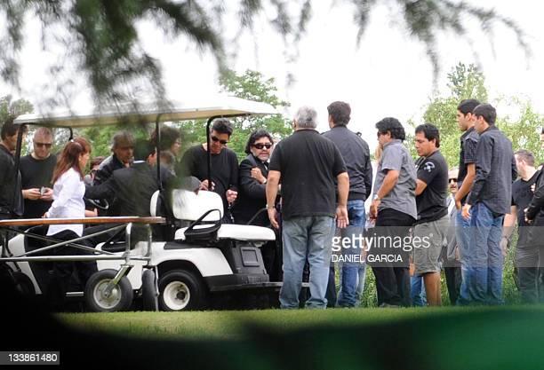 United Arab Emirates' Al Wasl football club coach Argentine former football star Diego Maradona attends the funeral of his 81yearold mother Dalma...