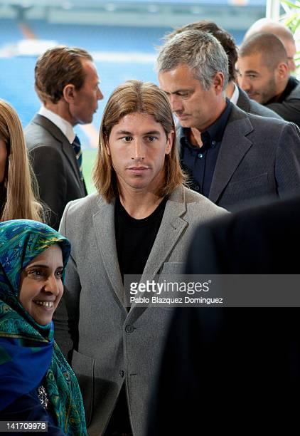 United Arab Emirates ambassador Hissa Abdulla Ahmed AlOtaiba Real Madrid player Sergio Ramos coach Jose Mourinho and player Karim Benzema attend the...