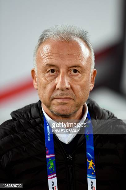 United Arab Emirates' coach Alberto Zaccheroni looks on during the 2019 AFC Asian Cup Round of 16 football match between UAE and Kyrgyzstan at the...