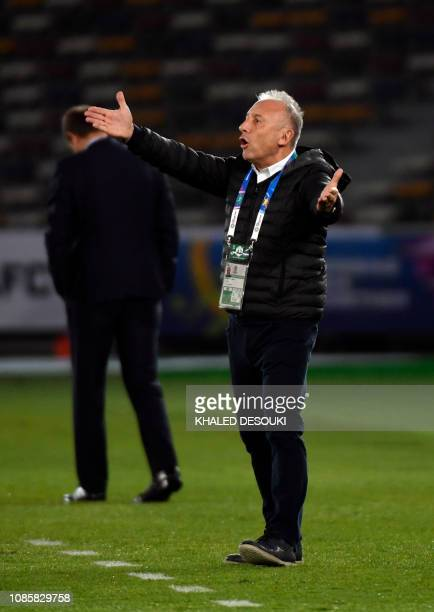 United Arab Emirates' coach Alberto Zaccheroni reacts during the 2019 AFC Asian Cup Round of 16 football match between UAE and Kyrgyzstan at the...