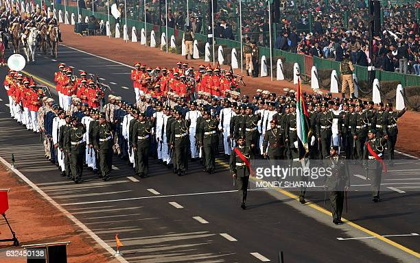 A United Arab Emirates contingent takes part in full dress rehearsal for the upcoming Indian Republic Day parade in New Delhi on January 23 2017...