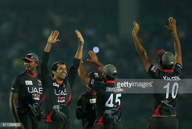 United Arab Emirates cricket team player Rohan Mustafa reacts after a dismissal during The Asia Cup T20 qualifying match Afghanistan and United Arab...