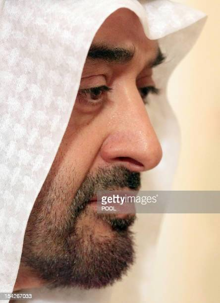 United Arab Emirates Crown Prince Sheikh Mohammed bin Zayed Al Nahyan attends a meeting with Russian President Vladimir Putin in the NovoOgaryovo...