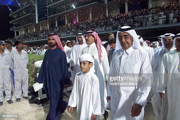 United Arab Emirates Defence Minister sheikh Mohamed bin Rashed alMaktoum and UAE Prime Minister sheikh Maktoum bin Rashed alMaktoum and unidentified...