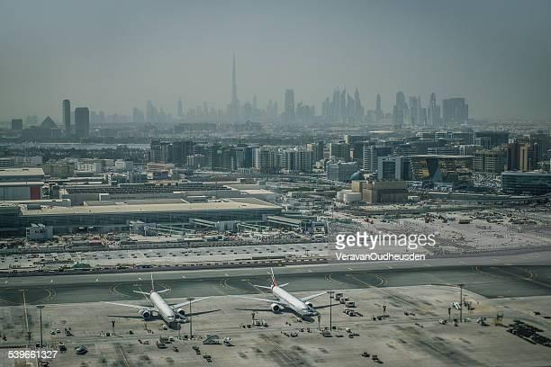 United Arab Emirates, Dubai, Aerial view of airport