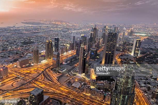 United Arab Emirates, Dubai City, Skyline view from Burj Khalifa at sunset