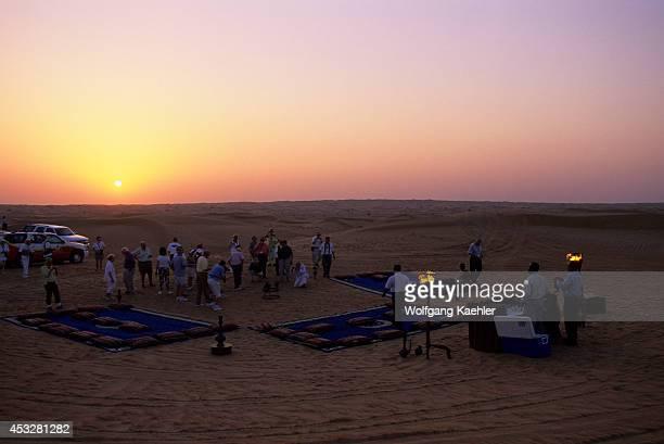 United Arab Emirates Dubai Dubai Desert Conservation Reserve Tourists Sunset