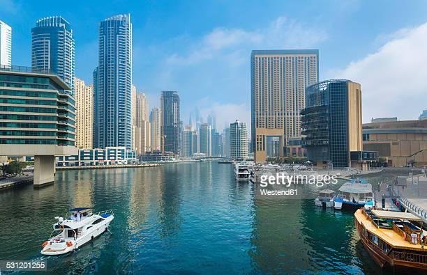 United Arab Emirates, Dubai, Dubai Marina, yacht harbour with skyscrapers