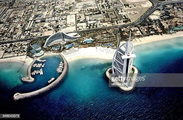 United Arab Emirates Dubai Hotel 'Burj al Arab' and the hotel'Jumeirah Beach'Aerial view
