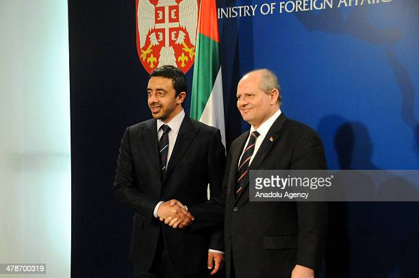 United Arab Emirates Foreign Minister Abdullah bin Zayed Al Nahyan shakes hand Serbian foreign Minister Ivan Mrkic during his official visit in...