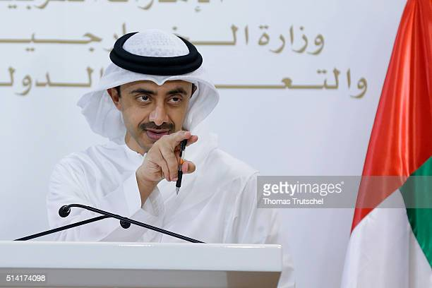 United Arab Emirates Foreign Minister Abdullah bin Zayed Al Nahyan speaks to the media during a press conference with German Foreign Minister...