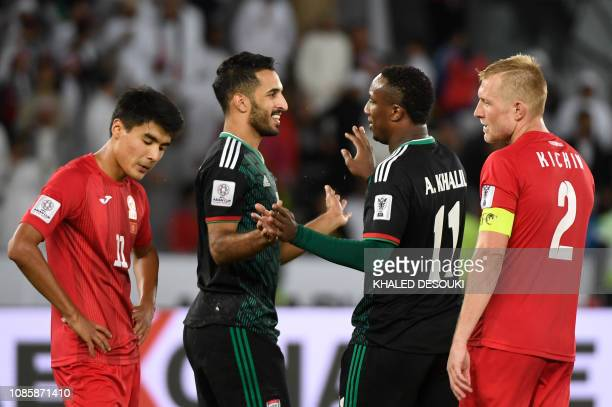 United Arab Emirates' forward Ahmed Khalil is congratulated United Arab Emirates' forward Ali Mabkhout during the 2019 AFC Asian Cup Round of 16...