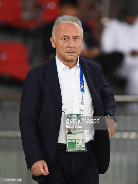United Arab Emirates head coach Alberto Zaccheroni of Italy looks on prior to the AFC Asian Cup Group A match between India and the United Arab...