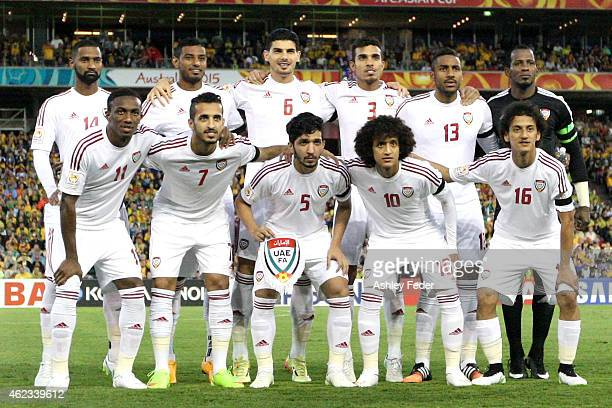 United Arab Emirates line up for a team shot during the Asian Cup Semi Final match between the Australian Socceroos and the United Arab Emirates at...