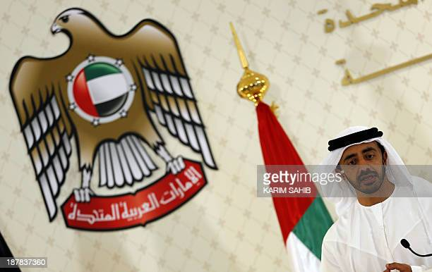 United Arab Emirates Minister of Foreign Affairs Abdullah bin Zayed alNahyan speaks during a joint press conference with German Foreign Minister...