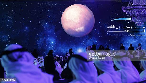 United Arab Emirates officials engineers and scientists take part in a ceremony to unveil UAE's Mars Mission on May 6 2015 in Dubai The UAE Mars...