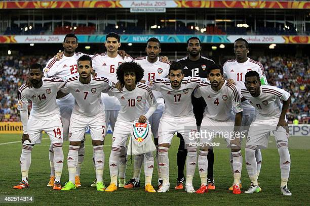 United Arab Emirates players line up for a photo during the Third Place 2015 Asian Cup match between Iraq and the United Arab Emirates at Hunter...