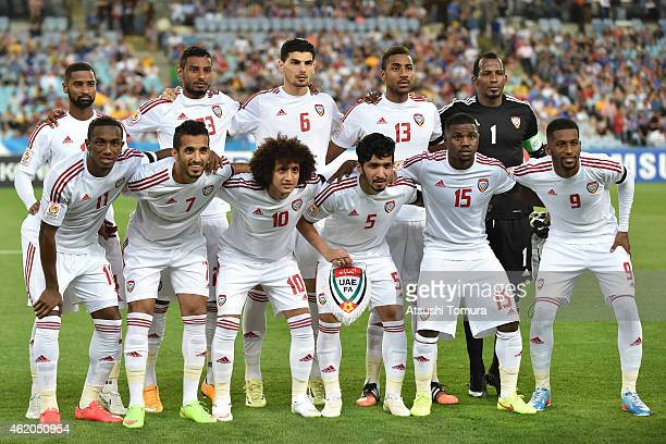 United Arab Emirates players pose for a group photograph prior to the 2015 Asian Cup Quarter Final match between Japan and the United Arab Emirates...